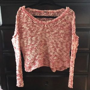 Free People Sweaters - Free People Red and White Crochet-like Sweater